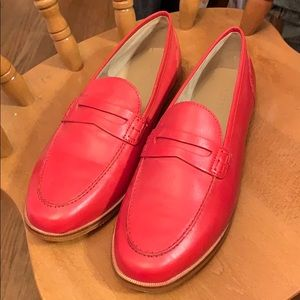 J. Crew red penny loafers